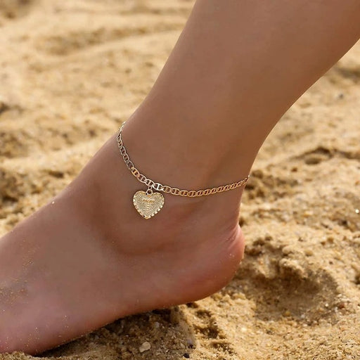 "Copper/925 Sterling Silver Initial Heart Anklet Adjustable Chain 8.5""-10"""