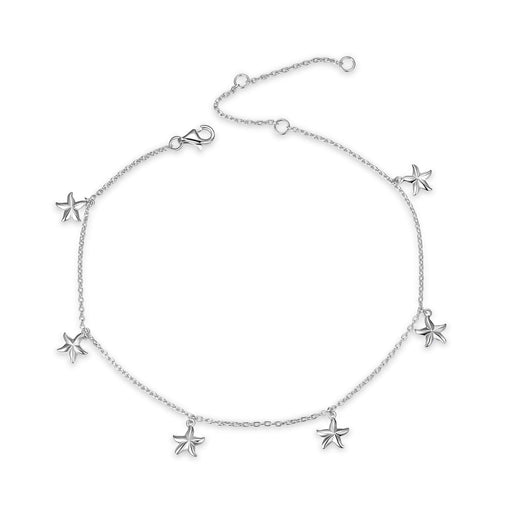 Boho Beach Starfish Seashell Ankle Heart Charm Bracelet Sterling Silver Anklet Chain Bracelet Beach Foot Jewelry for Women Little Girls