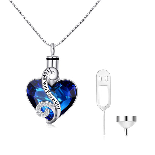 Love Heart URN Sterling Silver Heart Pendant Necklace with Swarovski Crystal