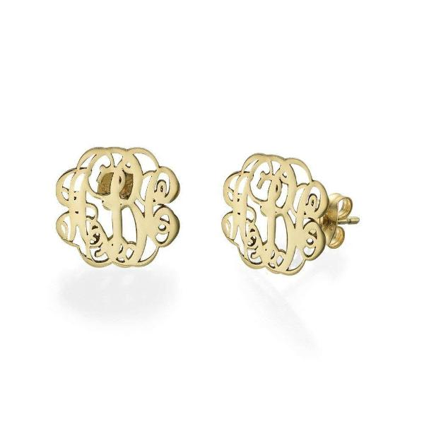925 Sterling Silver Personalized Monogram Earrings