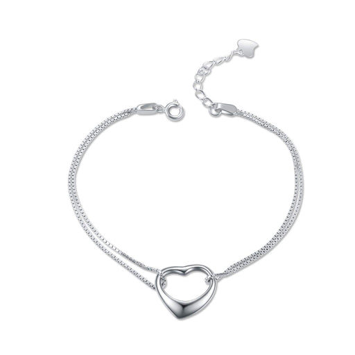 Ankle Heart Charm Bracelet Sterling Silver Anklet Chain Bracelet Beach Foot Jewelry for Women