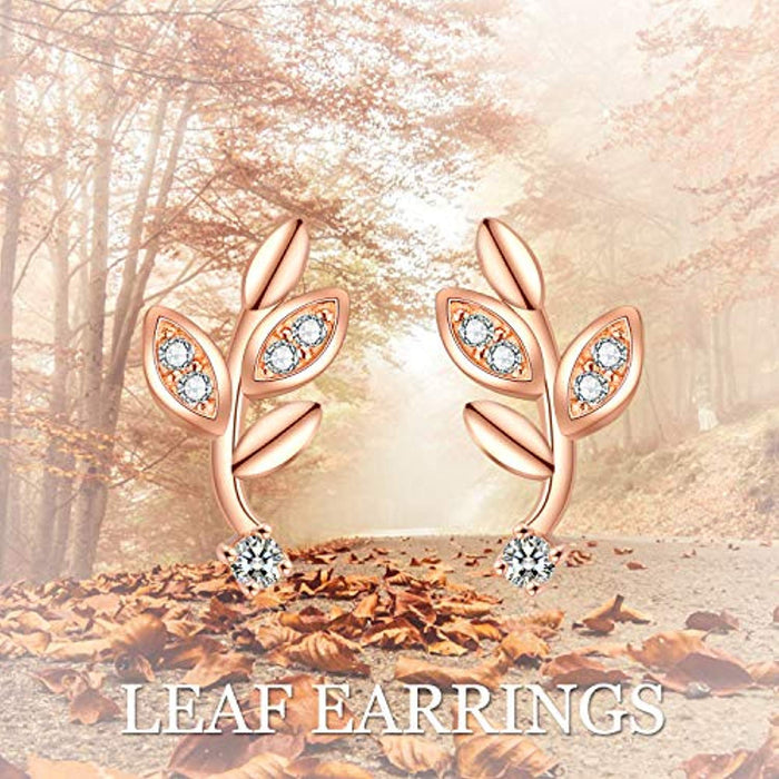 Rose Gold 925 Sterling Silver Leaf Stud Earrings with CZ
