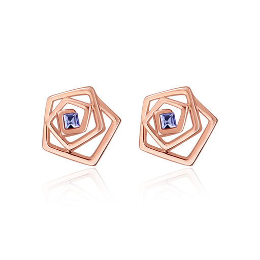 Rose Earrings Studs with Crystal Crystal