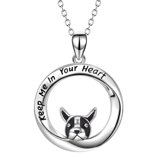 Bulldog 925 Sterling Silver Women Fashion Pendant Necklace