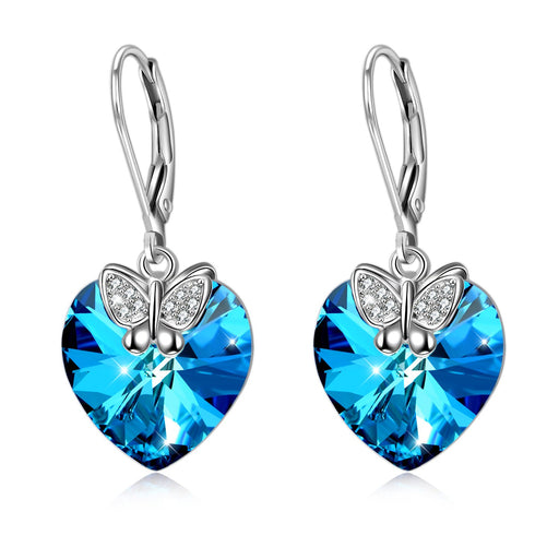 Sterling Silver Love Heart Dangle Drop Earrings with Swarovski Crystals Fine Jewelry Gift