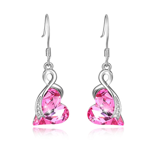 Love Heart Dangle Drop Earrings with Swarovski Crystals Fine Jewelry