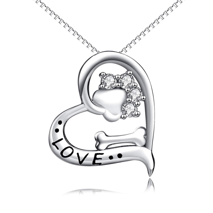 925 Sterling Silver Fashion Pendant Paw Bone Necklace For Women