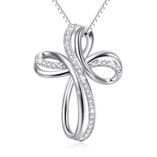 Sterling Silver Infinity Cross Pendant Necklace