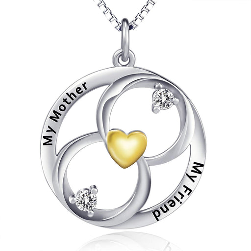 925 Sterling Silver Infinity Heart Engraved Love Mom Jewelry Women Gift Necklace 18""