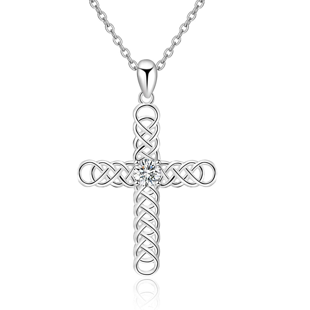 Religious Jewelry 925 Sterling Silver Irish Celtic Knot Cross Pendant Necklace for Women Girls
