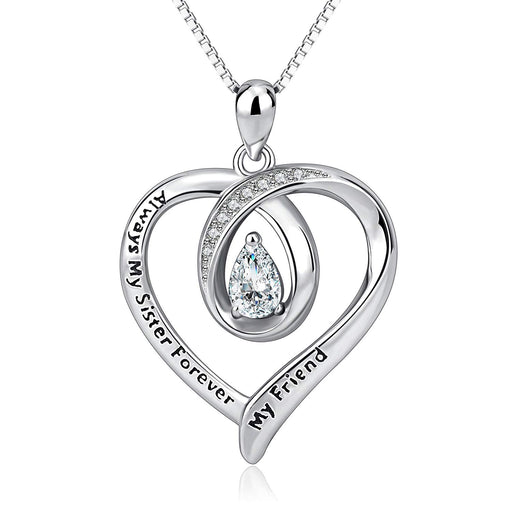Sisters Necklace Sterling Silver Always My Sister Forever My Friend Love Heart Necklace