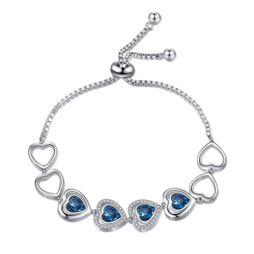 Endless Love Hearts Bracelet Sterling Silver Adjustable Bracelet