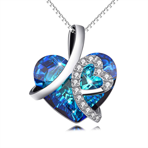I Love You Forever Heart Pendant Necklace with Blue Crystal Crystals