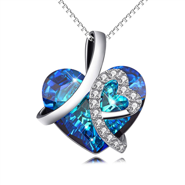 I Love You Forever Heart Pendant Necklace with Blue Swarovski Crystals