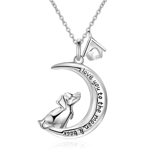 Sterling Silver Dog House Moom Pendant Necklace 18""
