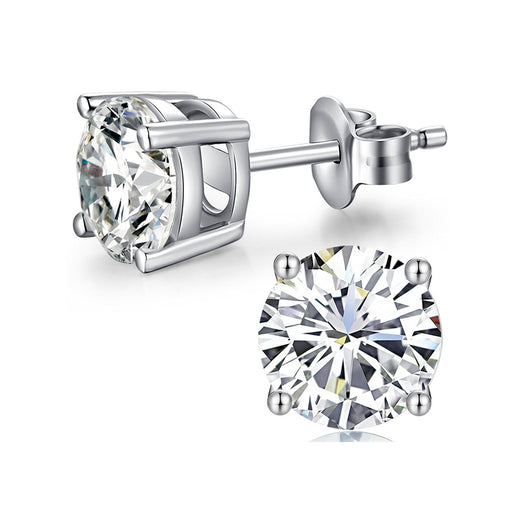Sterling Silver Stud Earrings with Swarovski Crystal 5-7mm Hypoallergenic Earrings
