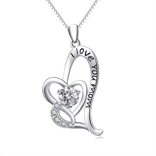 Mom Necklace Sterling Silver I Love You Mom Jewelry Women Gift 18""