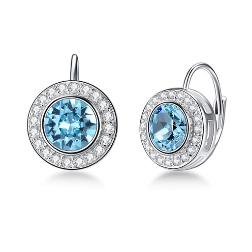 Round Halo Earrings Leverback Earrings with Swarovski Crystal,Birthstone Gift for Women Girl
