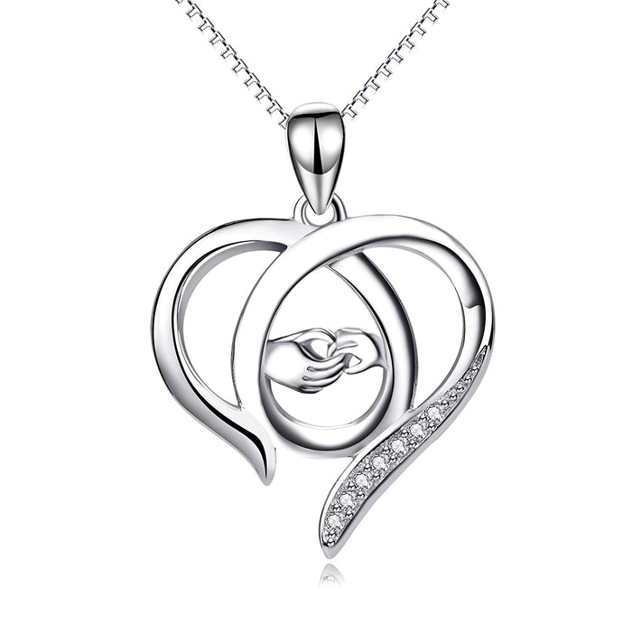 Mother and Child Hands Eternal Open Love Heart Sterling Silver Pendant Necklace, 18""