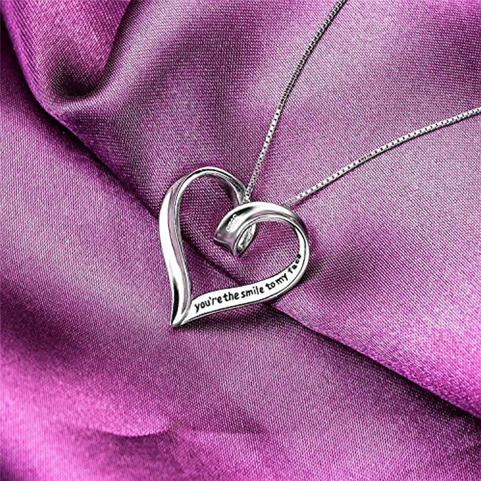 """You're The Smile to My face and The Beat to My Heart Open Heart Pendant Necklace 18"""