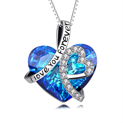 Sterling Silver I Love You Forever Love Heart Pendant Necklace with Blue Crystal