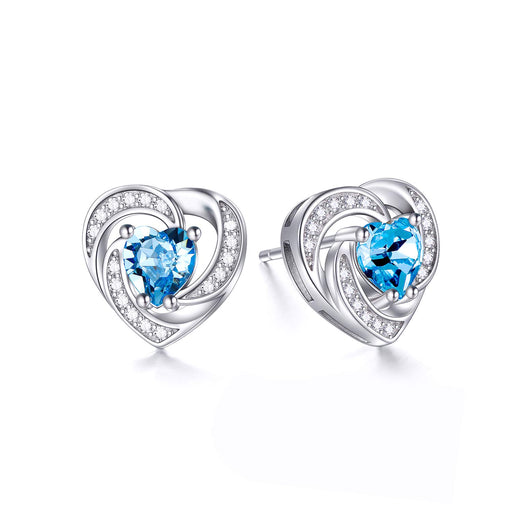 Birthstone Halo Heart Stud Earrings Blue Heart Shaped Crystals from Crystal