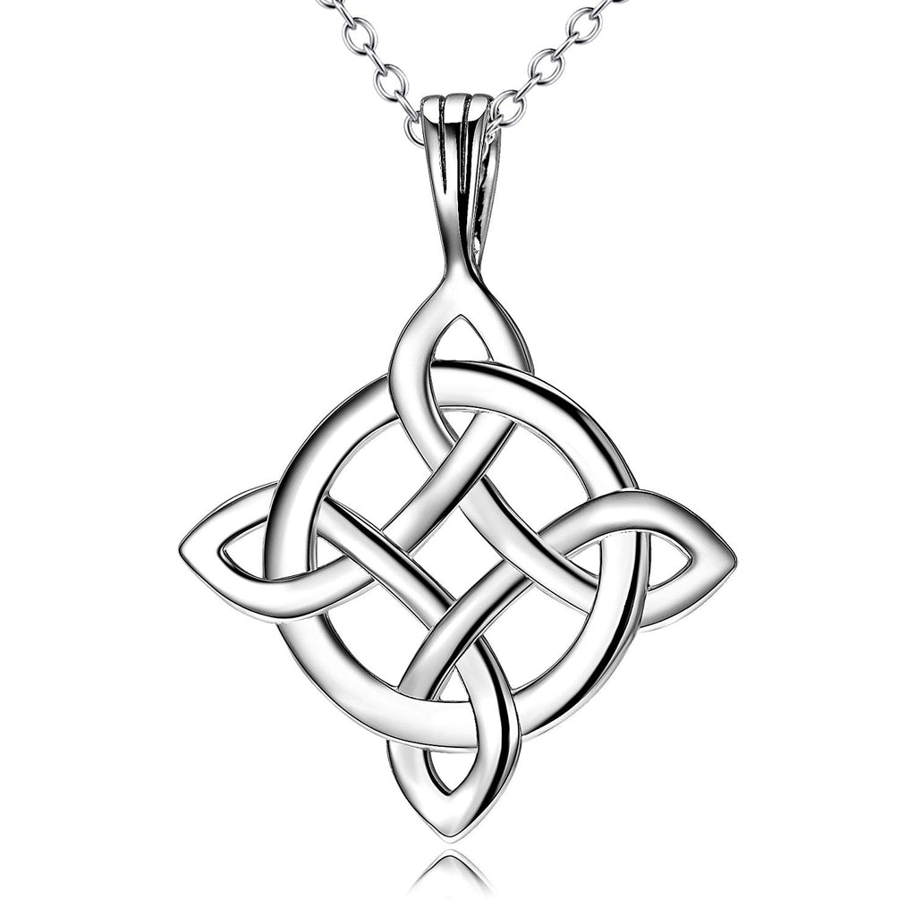 Irish Celtic Knot Pendant Necklace Infinity Love Sterling Silver Cubic Zirconia Jewelry 18