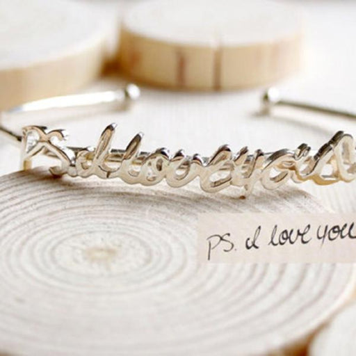 925 Sterling Silver Personalized  Handwriting  Bangle