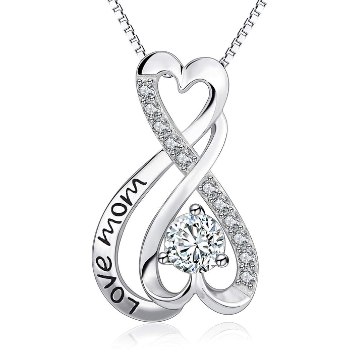 925 Sterling Silver Infinity Heart Engraved Love Mom Jewelry Women Gift 18""