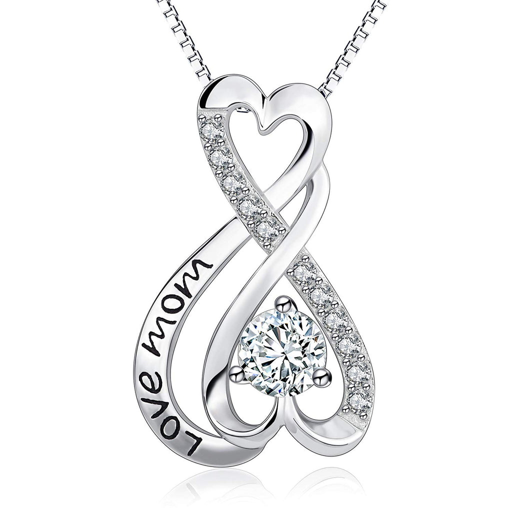 Mom Necklace Sterling Silver Infinity Heart Engraved Love Mom 18