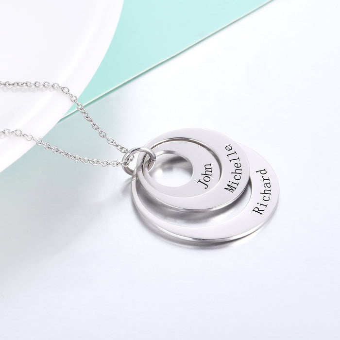 "925 Sterling Silver Personalized Engravable Three Disc Necklace Adjustable 16""-20"""