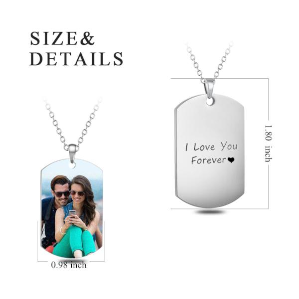"Stainless Steel Personalized Color Photo&Text Necklace Adjustable 16""-20"""