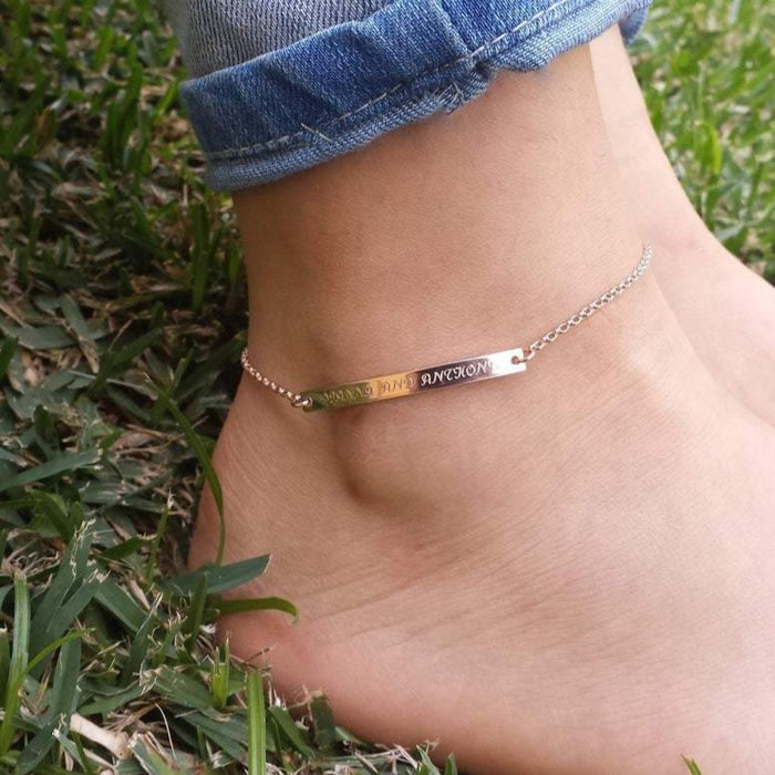 "Loving You-925 Sterling Silver Personalized Bar Engraved Anklet Adjustable 8.5""-10"""