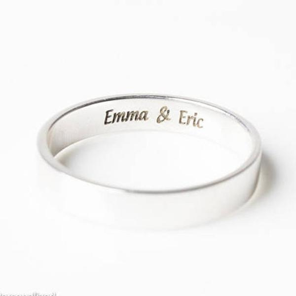 Copper/925 Sterling Silver Personalized Simple Engagement Band Rings