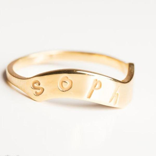 925 Sterling Silver Personalized Dainty Gold Ring