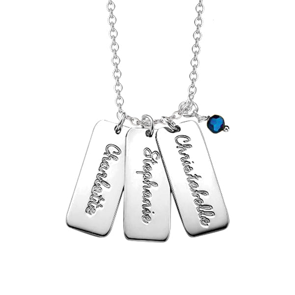 "Triple Rectangle 925 Sterling Silver Personalized Bar Necklace With Birthstone-Adjustable 16""-20"""