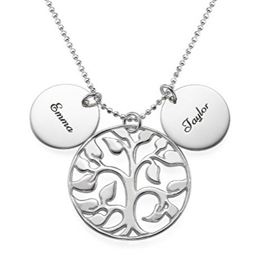 "925 Sterling Silver Personalized Circle Life Tree Engraved Necklace-Adjustable 16""-20"""