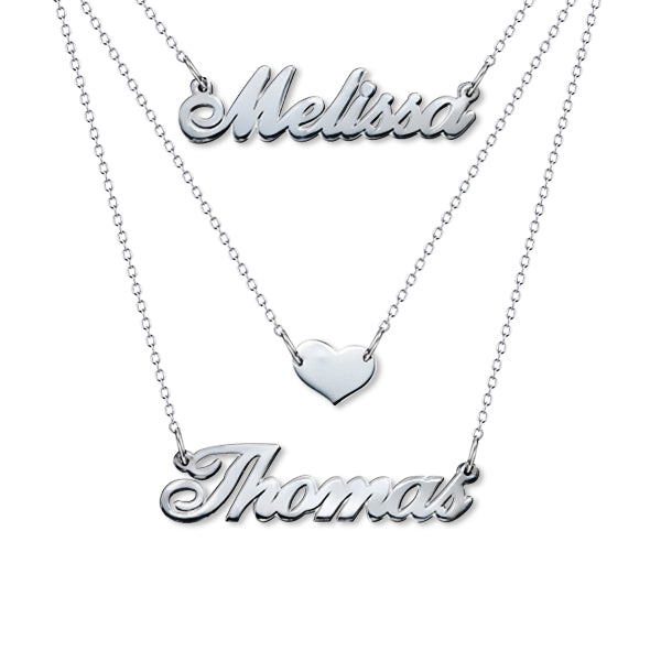 "Three Layers 925 Sterling Silver Personalized Adjustable 16""-20"" Heart Necklace-White Gold Plated"