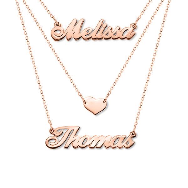 "Melissa❤Thomas - Three Layers Copper/925 Sterling Silver Personalized Adjustable 16""-20"" Heart Necklace-White Gold Plated"
