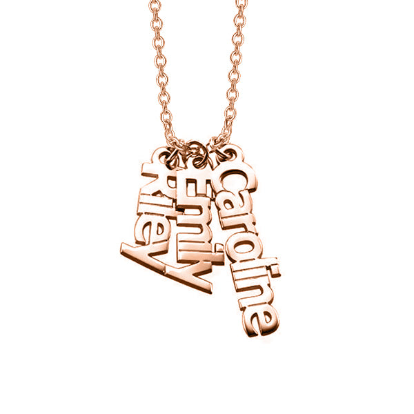 "Riley Emily Caroline - Copper/925 Sterling Silver Personalized 3 Names Necklace Adjustable 16""-20"""