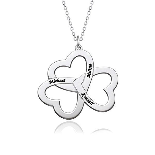 "Heart Four Leaf Clover Copper/925 Sterling Silver Personalized Lucky Necklace Adjustable 16""-20"""