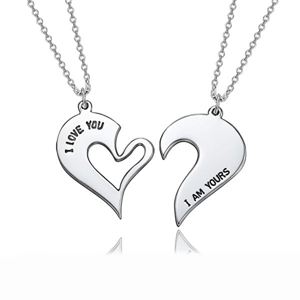 "You're My Other Half Personalized 925 Sterling Silver Heart Necklace Adjustable 16""-20"""