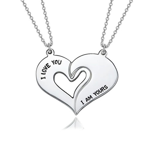 "You're My Other Half Copper/925 Sterling Silver Personalized  Heart Necklace Adjustable 16""-20"""