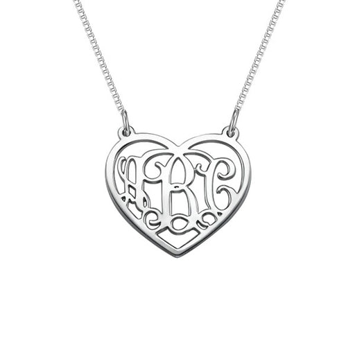 "925 Sterling Silver Personalized  Heart Monogram Necklace Adjustable 16""-20"""