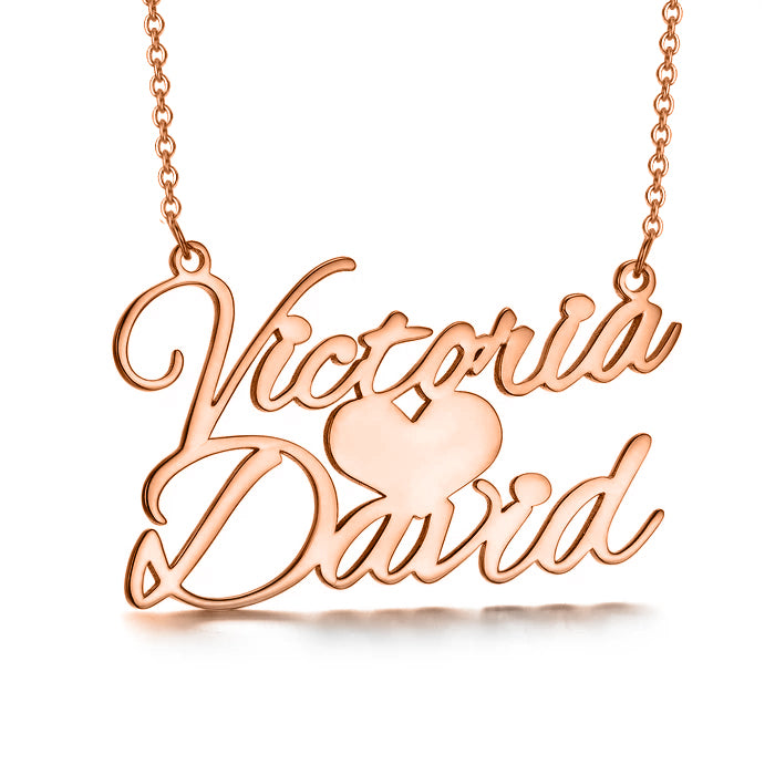 "Victoria❤David - Sweet Love Copper/925 Sterling Silver/10K/14K/18K Personalized Name Necklace Adjustable 16""-20"""