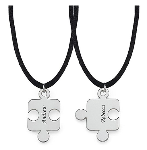 "925 Sterling Silver Jigsaw Puzzle Personalized Necklace- Adjustable 16""-20"""