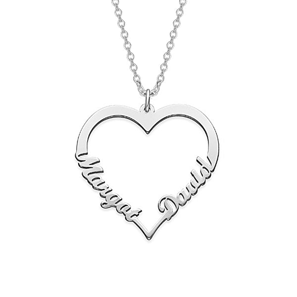 "Copper/925 Sterling Silver Personalized Classic Heart  Name Necklace with Two Names-Adjustable 16""-20"""