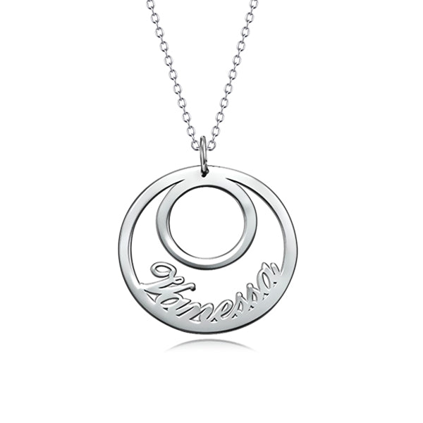 "All Around You 925 Sterling Silver Personalized  Necklace  Adjustable 16""-20""-White Gold Plated"