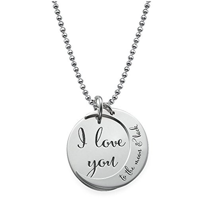 "I Love You To The  Moon And Back  925 Sterling Silver Personalized Necklace -Adjustable 16""-20"""
