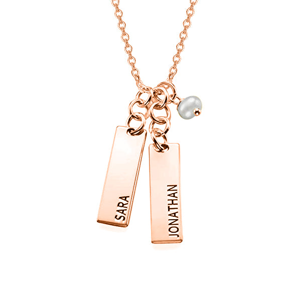 "Copper/925 Sterling Silver Adjustable 16""-20"" Personalized Double Bar Name Necklace"